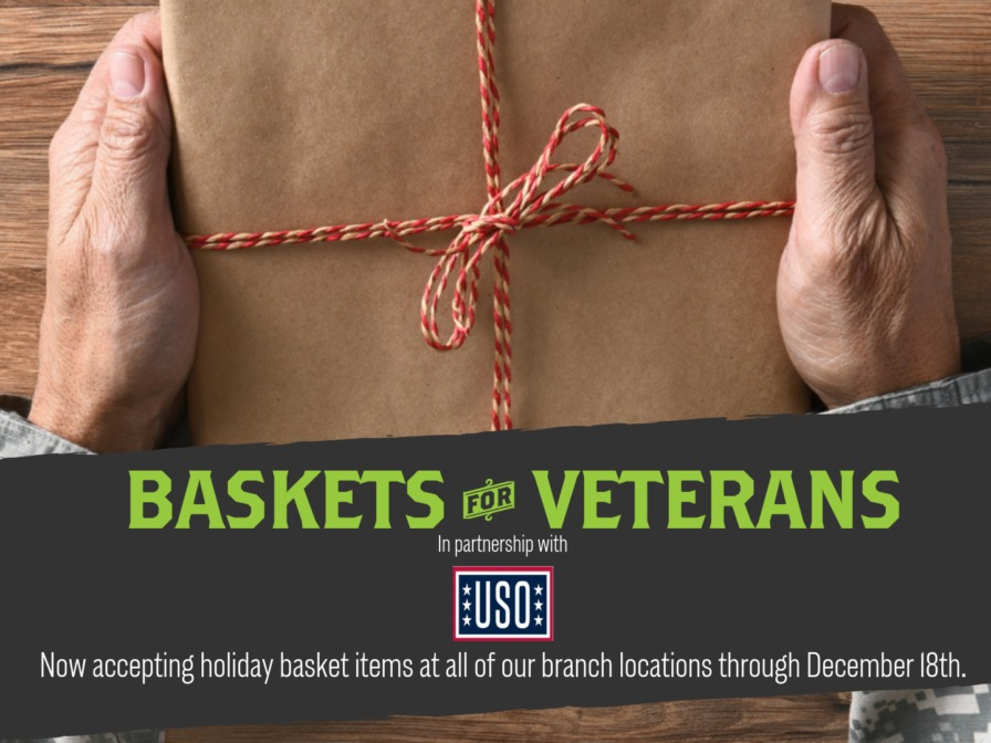 An elderly soldier's hands holding a wrapped package in a promo for Basskets for Veterans in partnership with the USO.