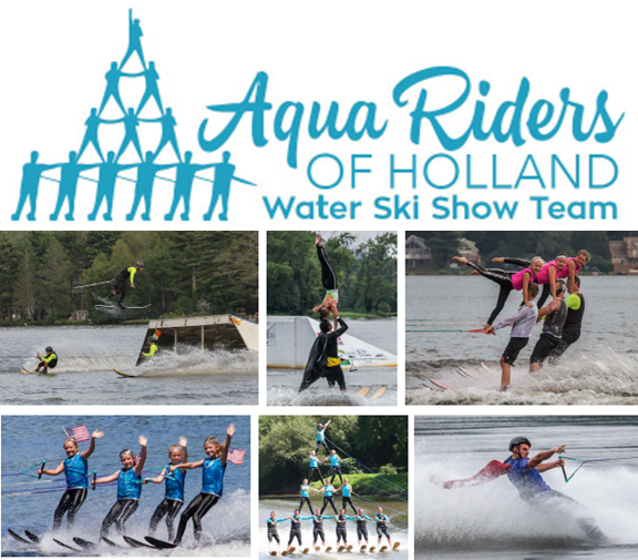 Promo for the Aqua Riders of Holland Water Ski Showw Team, including team logo and six action shots of waterskiers.