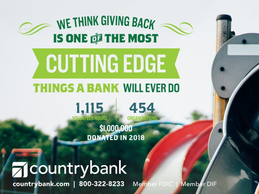 Country Bank promo image showing 1,115 volunteer hours to 454 organizations and $1,000,000 donated in 2018.
