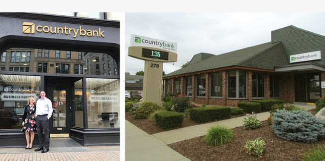 Pictures of the outside of two Country Bank locations; the Loan Production Office and Park Street, Worcester branch location.