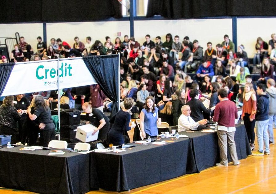 Crowds of students at the Credit For Life Fair